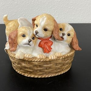 VTG Homco pups in a basket figurine dogs